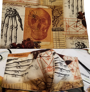 All Hallows skull skeleton hand Cotton hand made lined 3 layer washable surgical mask with adjustable strap