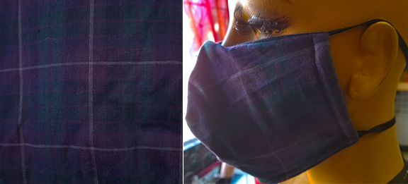 BlackWatch Stuart Hunting Plaid Cotton hand made lined 3 layer washable surgical mask with adjustable strap