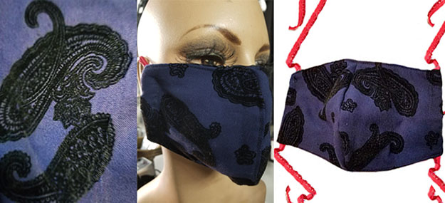 Navy Blue flocked paisley Cotton hand made lined 3 layer washable surgical mask with adjustable strap