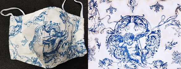 Blue white cherub print Cotton hand made lined 3 layer washable surgical mask with adjustable strap