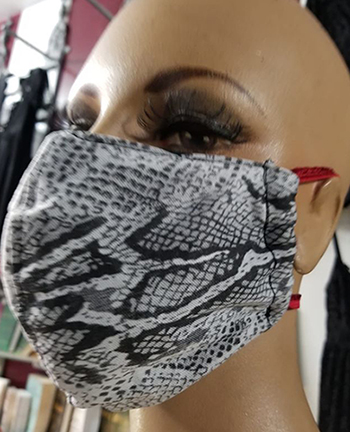 Fishnet/snakeskin black and white print hand made lined 3 layer washable surgical mask with adjustable strap