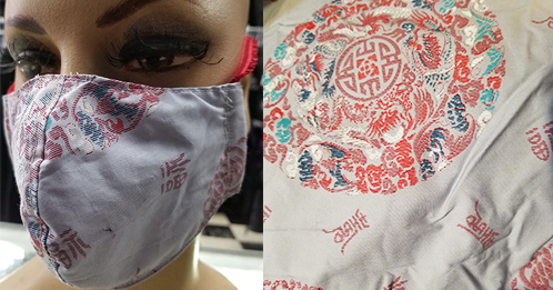 Grey Asian PrintCotton hand made lined 3 layer washable surgical mask with adjustable strap