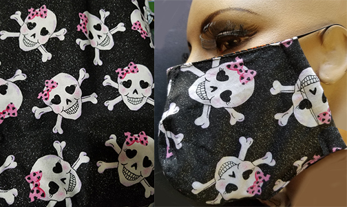 Pink glitter skull Cotton hand made lined 3 layer washable surgical mask with adjustable elastic straps